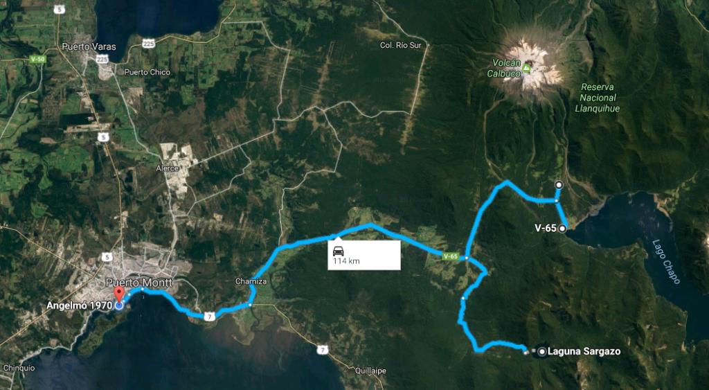 Mapa Ruta a Parque Alerce Andino